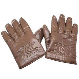 Brown Quilted Timeless Leather Gloves Size 8
